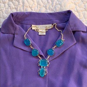 Blue gemstone 💎 silver necklace India craft
